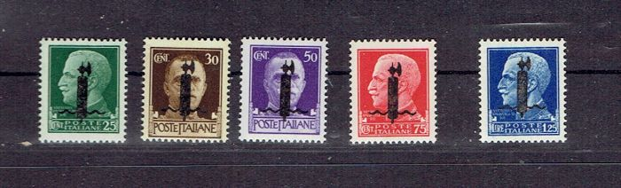 Italy 1944 - RSI lot with black surcharge NN. 490A/492A/495A/493CA/494C