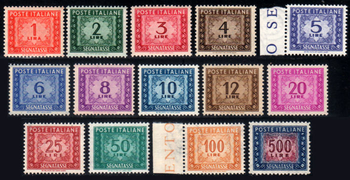 Italy, Republic, 1947–1954 -- Postage due, wheel, complete series of 14 values -- Sassone  no. S2312a