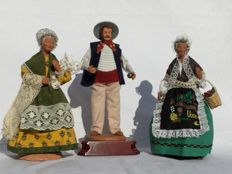 Three beautiful old authentic Santon figurines - Nativity scene figurines - Yolande & Carbonel