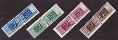 Italy, Republic, 1946 -- 100, 200, 300 and 500 lire, parcel post, winged wheel watermark -- Sassone  No.  77–80