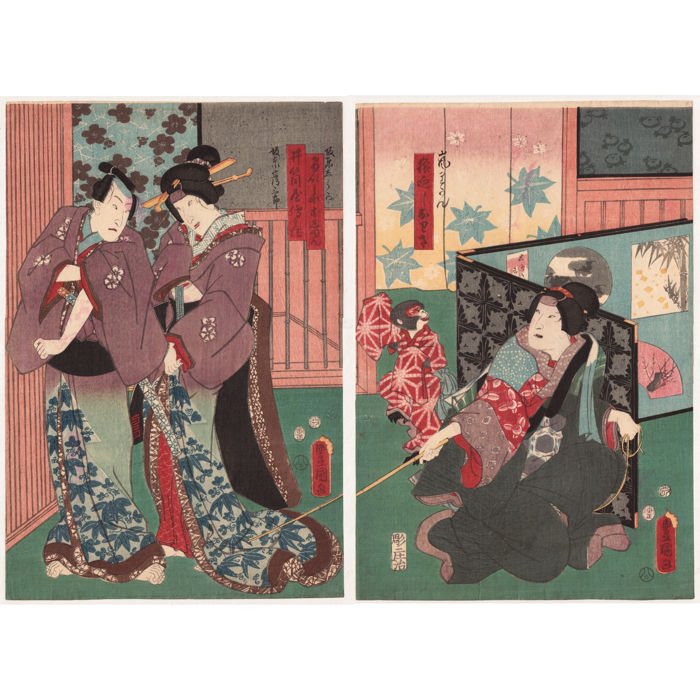 "Two original woodblock prints by Utagawa Kunisada (1786-1865) - ""Young Lovers"" and ""Monkey Trainer"" - Japan - 1854"