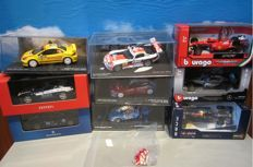 Bburago / Ixo - Scale 1/43 - Lot with 9 Models: Red Bull, Ferrari, Mercedes-Benz, Maserati, Alpine & Peugeot