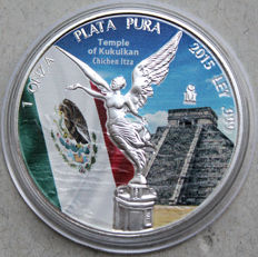 Mexico – Onza 2017 'Goddess of Victory – temple of Kukulkan' in colour – 1 oz silver