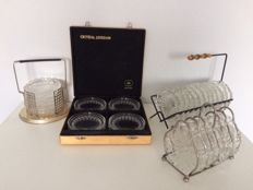 Various sets crystals and crystal - glass coasters including Crystal Leerdam