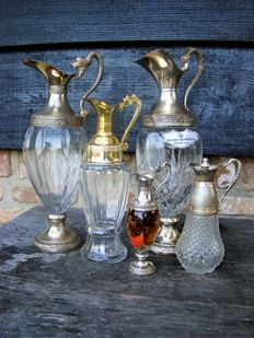 Five beautiful silver plated decanters, carafe, 20th century, Italy