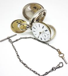 Joseph Saum Mold London - silver fusee pocket watch - 1889