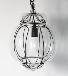 Venetian vintage hanging lamp - clear mouth-blown glass in metal frame
