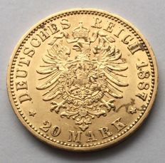 Germany (Prussia) - 20 Mark 1887 A - Wilhelm I - gold