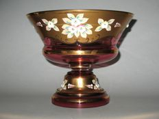 Bowl on foot made of Bohemian glass