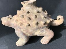Pre-Columbian archaeological finds in  ceramic  Cauca Madio region - Colombia   Turtle-shaped container in aggressive attitude  Height 130mm, length 220mm