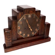 Mantel Clock c1920 Rare Amsterdam School Art Deco HAC Pfeilkreuz Movement