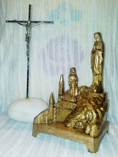 Our Lady of  Lourdes - Golden calamine - Music box - 1945. Steel crucifix on stone - 1950s.