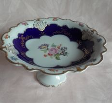 Wallendorf porcelain fruit tazza -  gold & cobalt blue