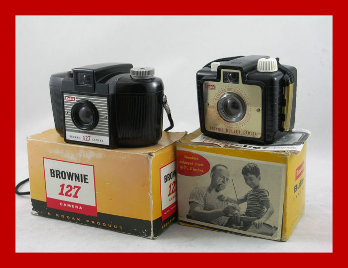 2 Eastman Kodak Brownie cameras, the BULLET and the 127