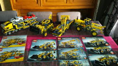Technic + Creator - 8053 + 8265 + 8069 + 6753  - Mobile Crane + Front Loader + Backhoe Loader + Highway Transport