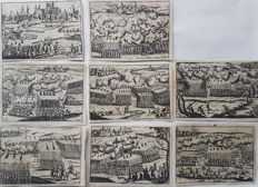 8 prints by an unknown artist (17th 18th century) - Various battle scenes near the city's of Norling, Prag, Leipzig, Luzen, Lutter, Jan Kau & other - ca early 18th century