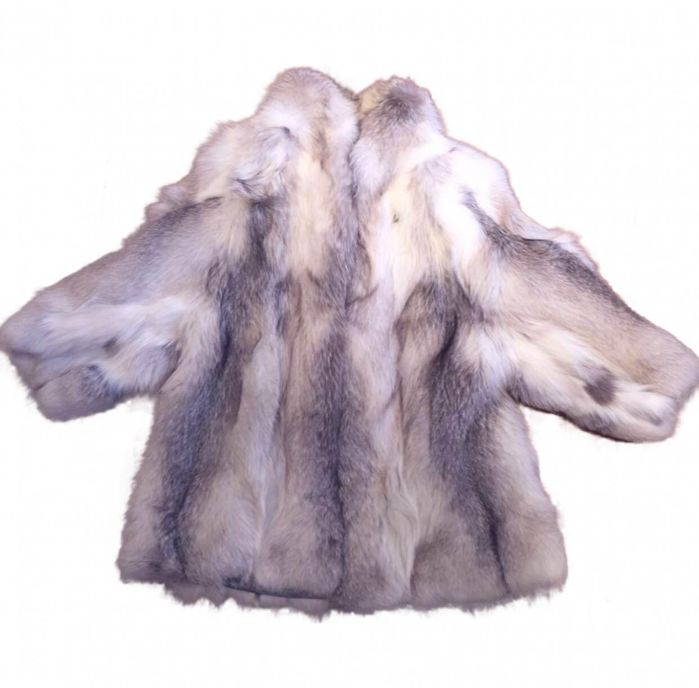 Silver fox fur – Long jacket – Size XL