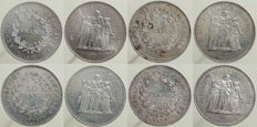 France – 50 Francs 1974/1977 'Hercule' (lot of 4 coins) - Silver