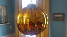 Large antique old blown glass ball,coloured yellow