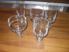 Glass series, 5 x 6 pieces, trays of champagne, champagne glasses, white wine, red wine, beer tulips, Spiegelau glass, West Germany, Scol series