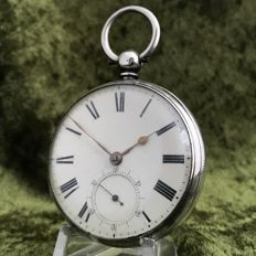 Fusee silver men's pocket watch - Elijah Joseph - 1886