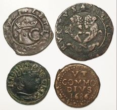 Kingdom of Naples (1458-1686) - Lot of 4 coins 15th-17th cenntury