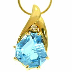 "14 kt Gold necklace with fantasy cut blue Topaz & diamond ""No reserve"""