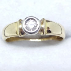 Stunning Vintage SI grade natural Diamond ring bezel set solitaire in 14K white & yellow gold ring
