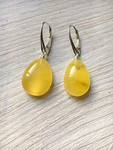 sterling silver natural Baltic Amber drop earrings in cherry colour, long earrings