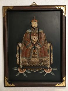 Framed statue, figure in polychrome talc - China - late 20th century