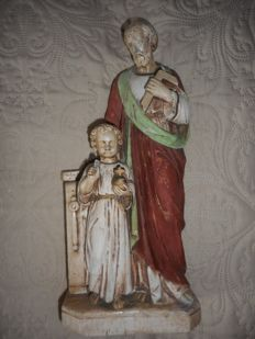 Antique sculpture of Saint Joseph with baby Jesus, painted in polychromy and signed M.E., Italy, 20th century