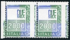 Italy Republic 1979 -  Variety 'without effigy and displaced perforation' in pair of 2 – Bolaffi N. 1539B