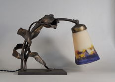 Carion & Muller Frères - Art Deco lamp - wrought iron and coloured glass