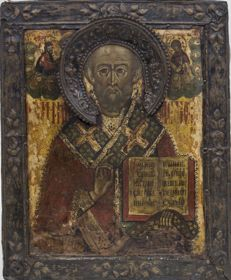 Russian icon St. Nicholas -first half 18th century in silver basma (dated 1789)