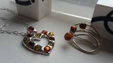 "Set - Pendant ""Heart whis amber""  Brooche ""Flowers "" - Chain - Baltic amber - silver 925 - no pressed - UV test"