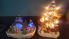 Ice island and christmas tree with lights