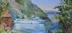 Harley Crossley (1936-2013) - A cruise ship in a Norwegian fjord