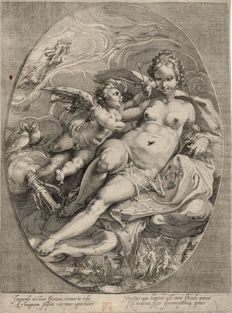 Hendrick Goltzius copy A in reverse, anonymous, Venus and Cupid, 1600