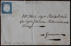 Sardinia 1862 - 20 cent.  sky blue on letter from Isola del Cantone to Genova (Genoa) - Sass.  No.  15Da