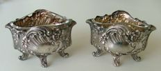 Pair French silver salts with glass liners. Minerve 1 hallmark late 1800's early 1900's