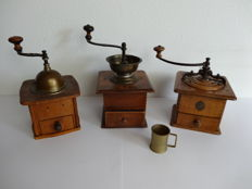 Three late 19th early 20th century hand coffee Mills