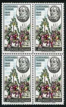Italy Republic 1965 -  Alessandro Tassoni with color printing shifted (not the black) in block of 4 –  Sass. N. 605Aa