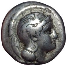Greek Antiquity - Northern Lucania, Velia, Theta Group, c. 340-334 BC- AR Didrachm (Silver, 21mm, 7,12g.) - Head Athena / Lion -Rutter Historia Numorum 1284; Williams 254-276