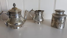 19th century antique silver plated tea set by Christofle engraved with flowers, peculiar item: the tea caddy.