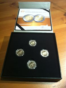 The Netherlands - 2 euro 2014 Koningsdubbelportret - colour set of 4 x 2 euro in luxurious wooden case