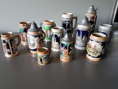 Lot of 12 earthenware beer steins