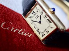 Must de Cartier Tank Ref. 1615 - Ladies watch - Gold plated sterling silver (925) - includes Cartier deployant clasp