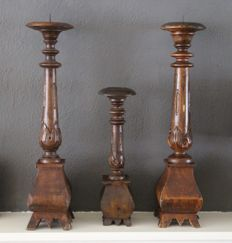 Set of three old hand-carved candle holders, Holland - circa 1900-1920