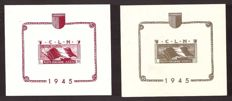 Italy 1945 – CLN Aosta, non-perforated mini sheets – Sass. No.  1/2