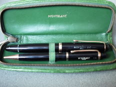 Montblanc duo set - Nr. 372 mechanical pencil and Nr. 3-42G fountain pen - 14k solid gold nib (B) - in Montblanc leather cover